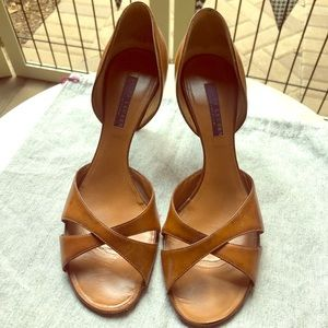 RALPH LAUREN Brown Leather D'Orsay Sandal 38.5